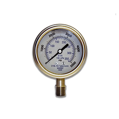 stainless steel brass process gauge -- fluid filled